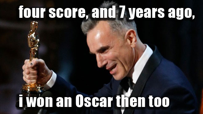 Daniel Day-Lewis wins his 3rd Oscar for Lincoln.