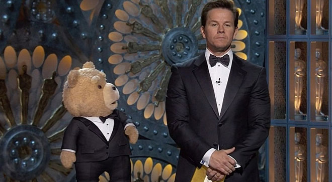 Ted and Mark Wahlberg present an award at the Oscars.