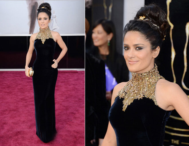 Salma Hayek at the 2013 Oscars.