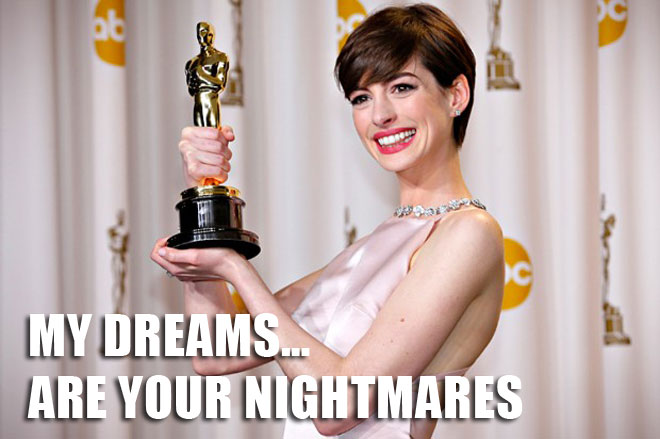 ANNE hathway at the Oscars