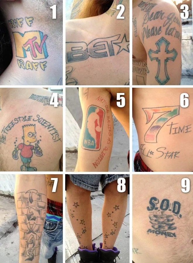 A look at RiFF RaFF's tattoos.
