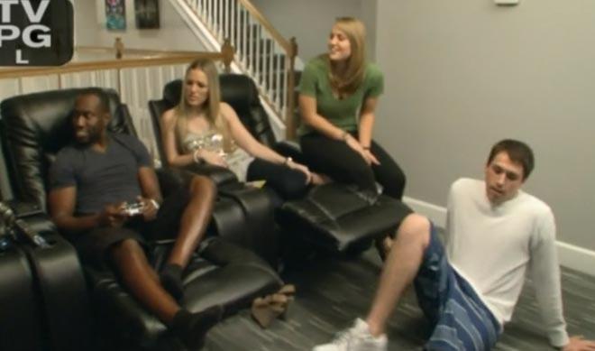 Gene, Ryan Lochte, Devon, and their girlfriend's Morgan and courtney watch the Lochte swim cap trick on WWRLD.