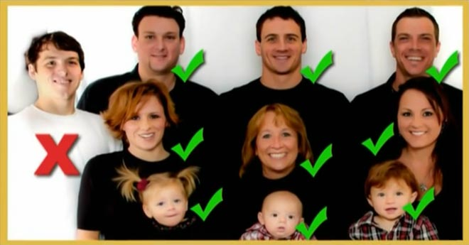 Devon Lochte wears white when the Lochte family wears all black for the Christmas card.