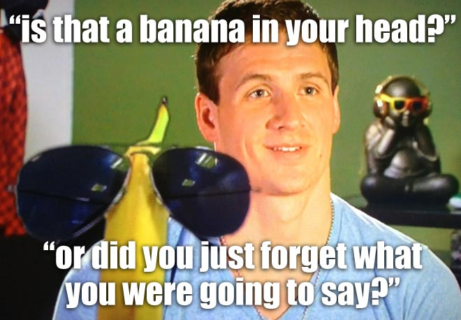 Ryan Lochte sees a dancing banana in his head when his mind goes blank on WWRLD.
