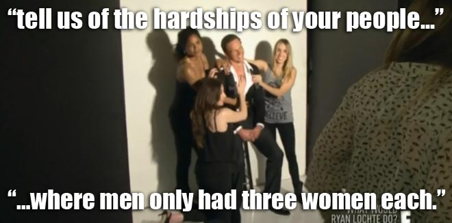 Ryan Lochte poses for a photo shoot with three women on WWRLD.