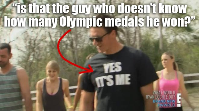 Ryan Lochte wearing a Yes It's Me t-shirt on WWRLD.
