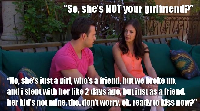 Desiree confronts bachelor brian about his girlfriend on the Bachelorette Breakdown.