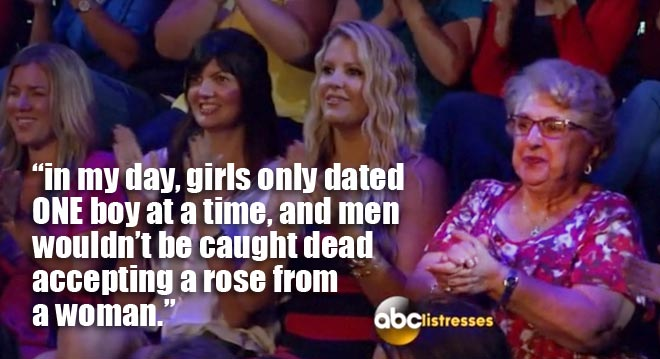 An old woman in the audience during the BAchelorette men tell all with Desiree.