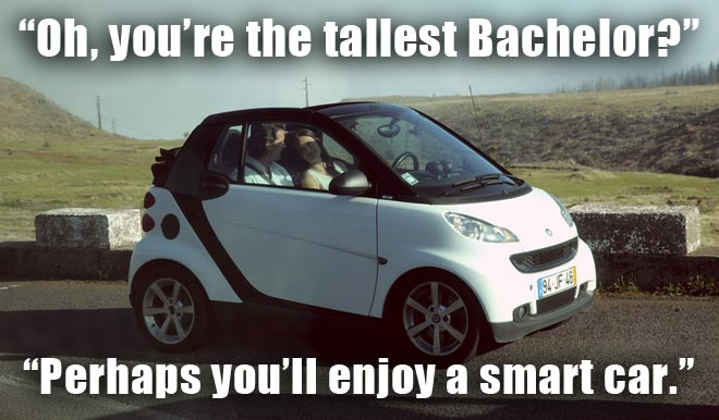 Brooks and Desiree drive to the top of cloud 9 mountain in a smart car on the BAchelorette.