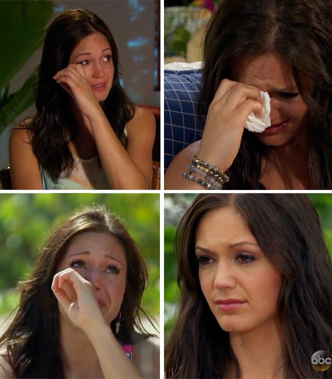 Desiree cries over the loss of Brooks on the Bachelorette Final Rose.