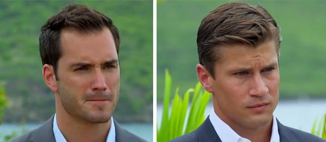 Drew and Chris find out that Brooks is gone during the rose ceremony on the Bachelorette.