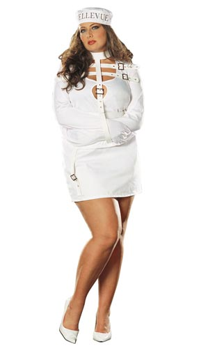 Sexy straight jacket crazy chick Halloween costume.