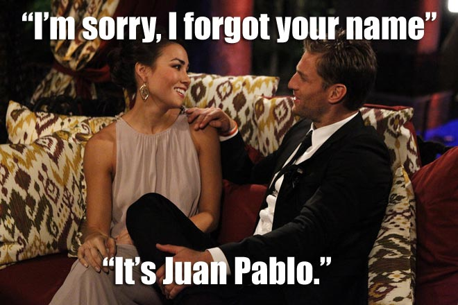 Sharleen receives the first impression rose from Bachelor Juan Pablo in episode one.