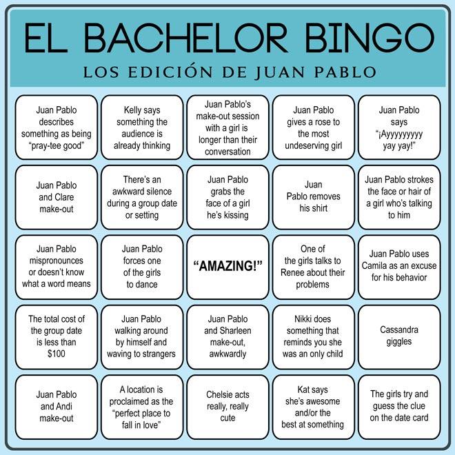 Play Bachelor Bingo Juan Pablo edition.