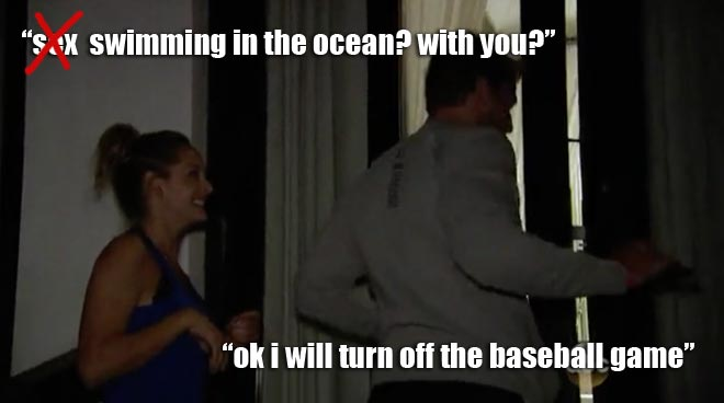 Clare invites the Bachelor Juan Pablo for a swim in the ocean.