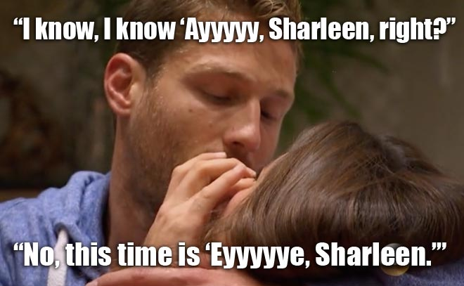 The Bachelor Juan pablo wipes the tears away from Sharleen's eyes in Miami.