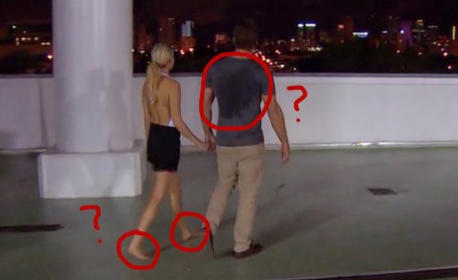 Nikki and Bachelor Juan Pablo walk around Miami Marlins stadium on their date.
