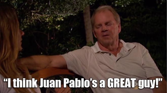 Renee's dad Tom talks to her about the bachelor Juan Pablo.
