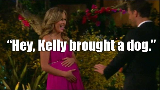 Clare plays a fake pregnancy joke on Juan pablo during the Bachelor.