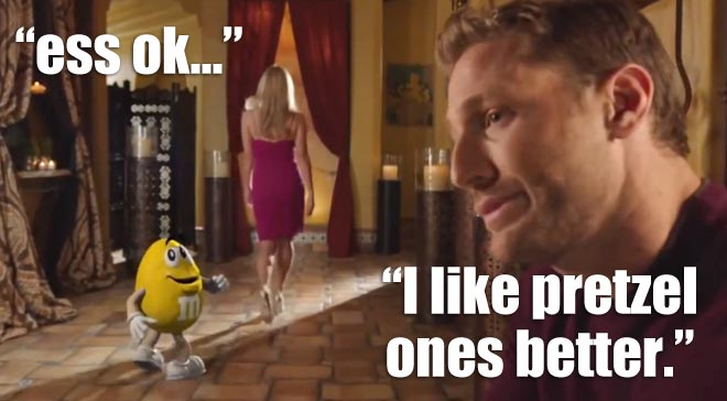 Juan Pablo stars in an M&M commercial.