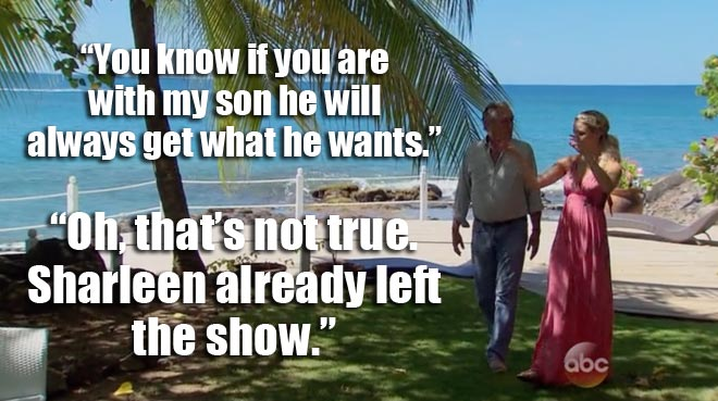 Nikki talks with bachelor Juan Pablo's dad.