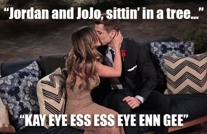 jordan and JoJo kiss on the bachelorette.
