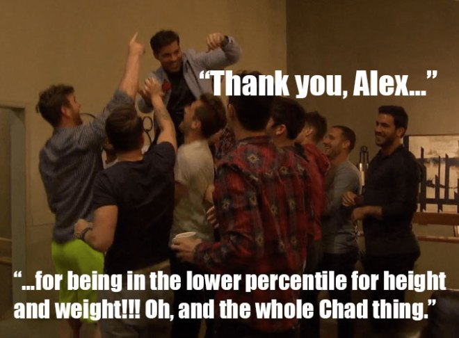 the guys lift alex on their shoulders after JoJo send home Chad on the Bachelorette.
