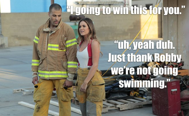 Grant wins the firefighter challenge for JoJo on the Bachelorette.