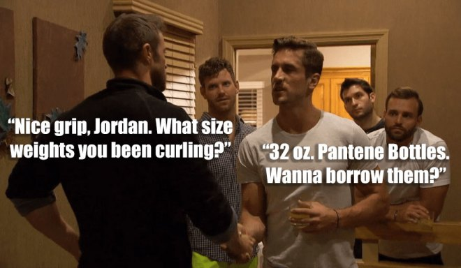 Chad and Jordan shake hands after JoJo kiss off Chad on the Bachelorette.