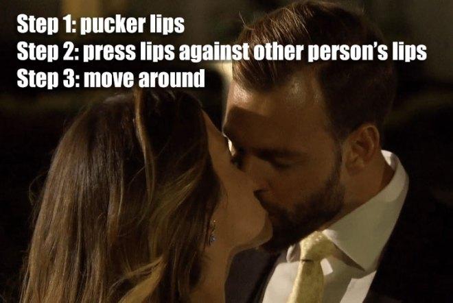 Robby and JoJo kiss on the bachelorette.