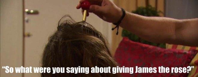 Chase massages JoJo's head on the Bachelorette.