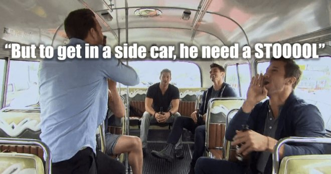 Jordan, Luke, Robby, James and Chase board a bus in Argentina on the Bachelorette.