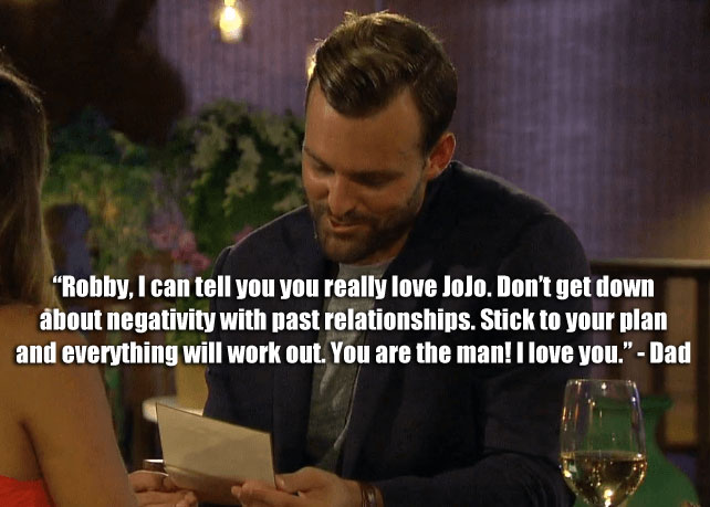 Robby reads a letter from his dad to JoJo on the bachelorette.