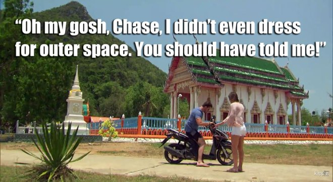 Chase arrives to pick up JoJo for their date in Thailand on the bachelorette.