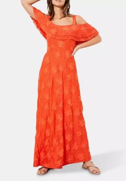 orange-cold-shoulder-dress