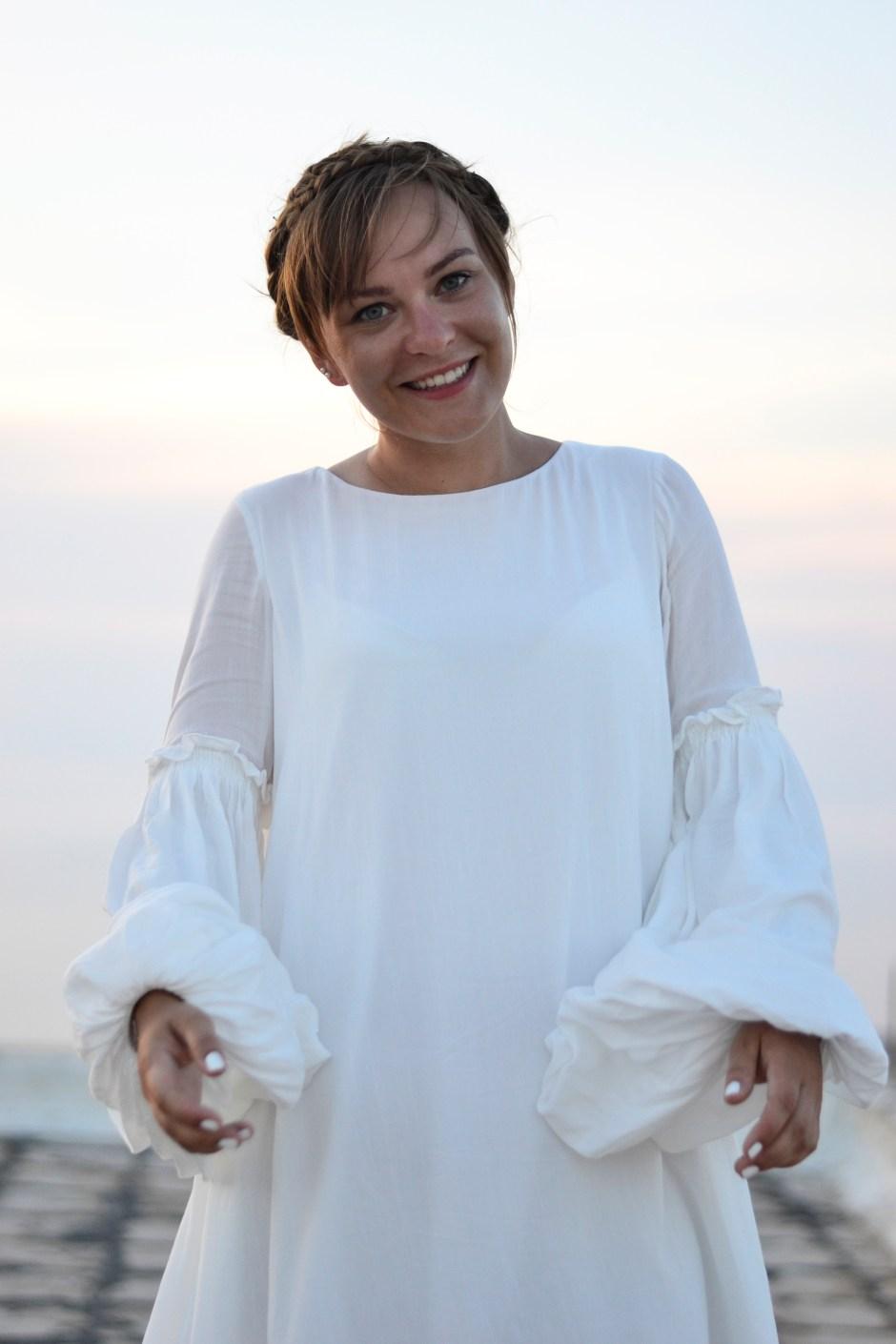 white dress santorini golden hour 4