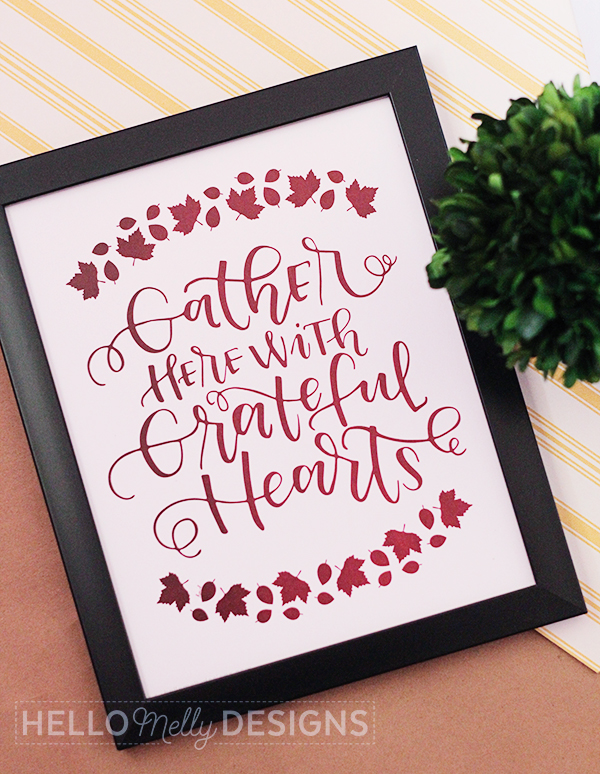 Free Thanksgiving Printable from Hello Melly Designs- Hand Lettered Print