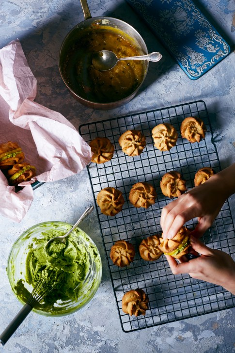 Ginger Viennese Whirl Cookies w/ Matcha Mascarpone Cream + Passion Fruit Curd | Hello My Dumpling