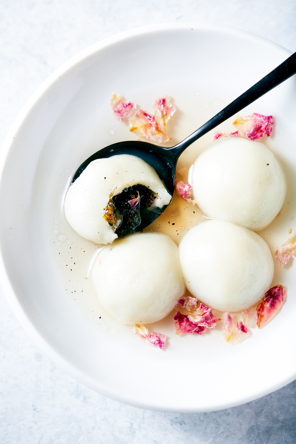 Black Sesame Sticky Rice Balls with Tangerine and Rose