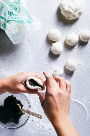 Black Sesame Stick Rice Balls w/Tangerine and Rose | Hello My Dumpling (Gluten Free)