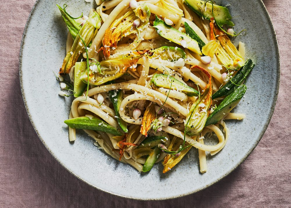 Bucatini Pasta w/Squash Blossoms, Summer Zucchini, Garlic Flowers | Jenny Huang