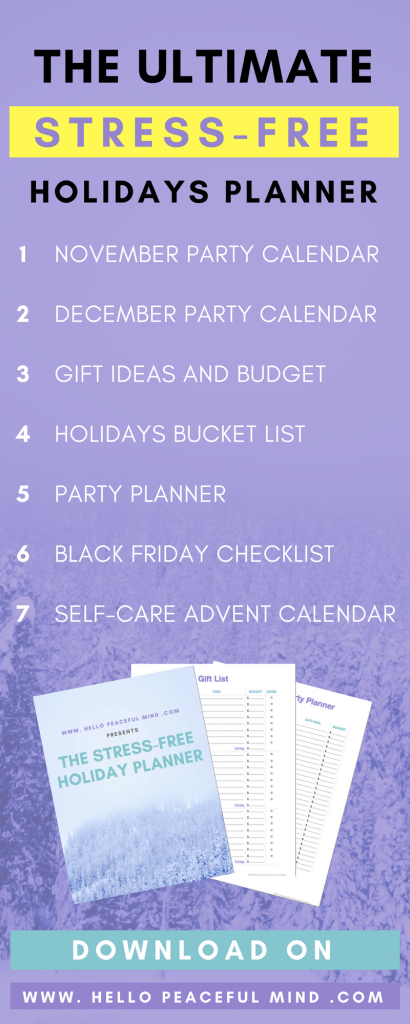 Get ready for the winter holidays and download the free Christmas planner on www.HelloPeacefulMind.com