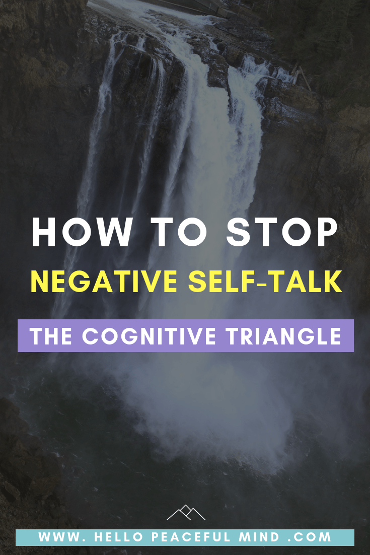 Find out how to stop negative #selftalk and be more #confident with the #cognitive triangle on www.HelloPeacefulMind.com