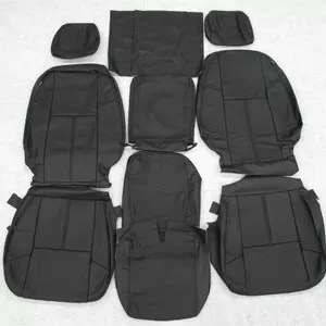 Chevy Silverado Crew Leather Seat Cover Set Ebony Black