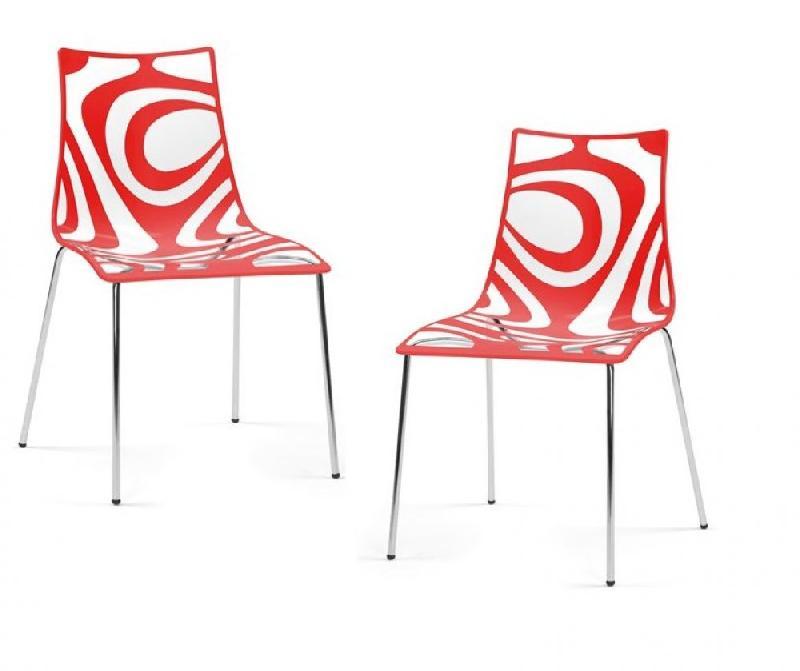 lot de 2 chaises design tribal transparente et rouge