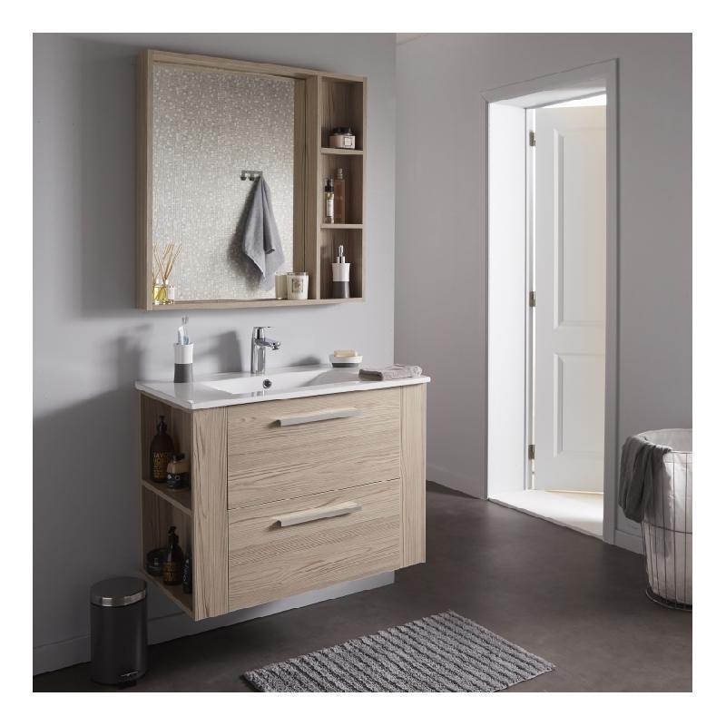 soldes ensemble meuble de salle de bain 80 cm miroir couleur chene cambrian chene cambrian