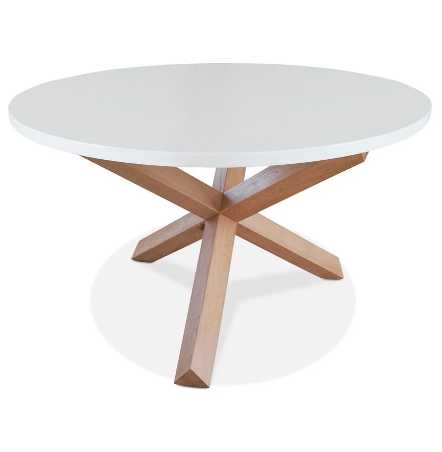 table ronde design marvel blanche et chene massif o 120 cm
