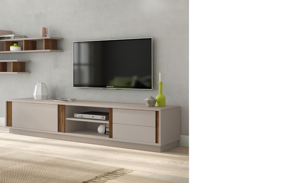 meuble tele design laque gris mat et couleur bois fonce geneve