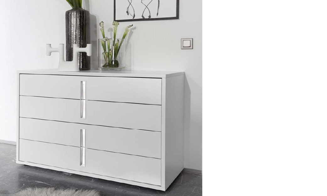 commode design blanche et chrome