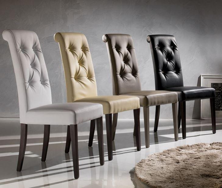 chaise billionaire en tissu enduit polyurethane simili facon cuir noir